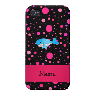 Personalized name whale pink polka dots cases for iPhone 4