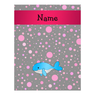 Personalized name whale pink polka dots full color flyer