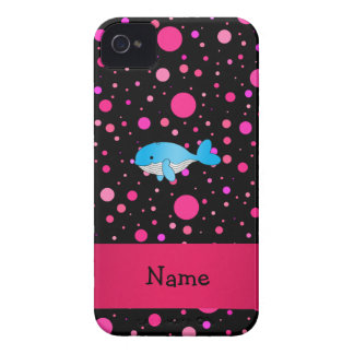 Personalized name whale pink polka dots iPhone 4 Case-Mate cases