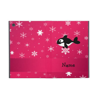 Personalized name whale pink snowflakes iPad mini covers
