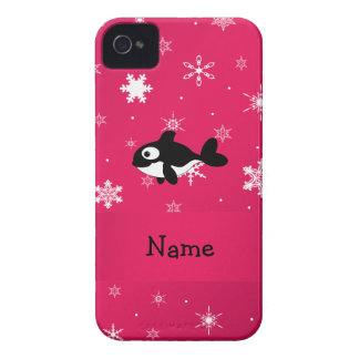 Personalized name whale pink snowflakes iPhone 4 covers