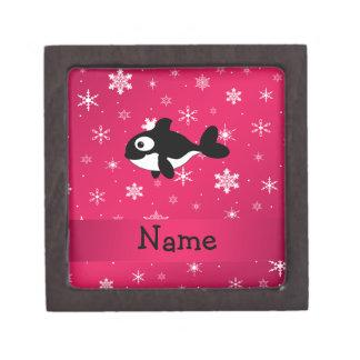 Personalized name whale pink snowflakes premium keepsake boxes