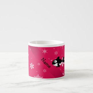 Personalized name whale pink snowflakes espresso mug