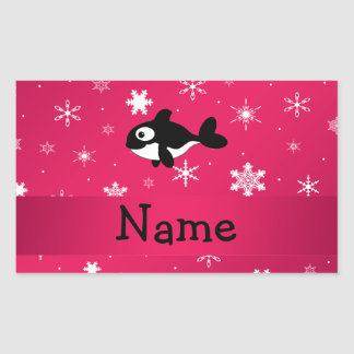 Personalized name whale pink snowflakes rectangle stickers