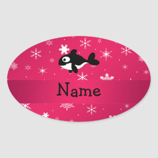 Personalized name whale pink snowflakes oval stickers