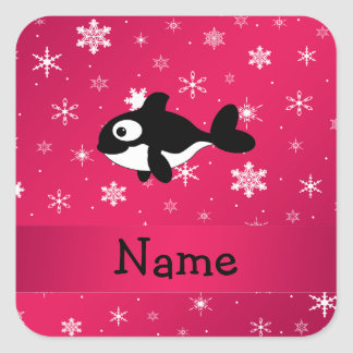 Personalized name whale pink snowflakes sticker