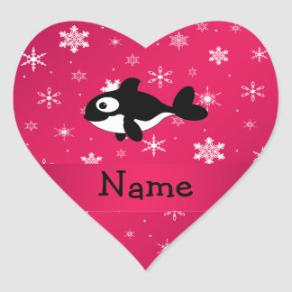 Personalized name whale pink snowflakes stickers
