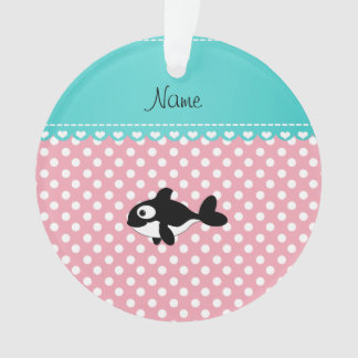 Personalized name whale pink white polka dots
