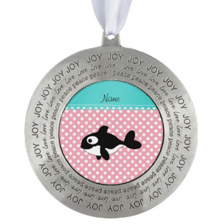 Personalized name whale pink white polka dots round pewter ornament