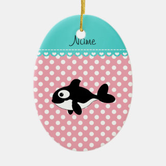 Personalized name whale pink white polka dots christmas ornament