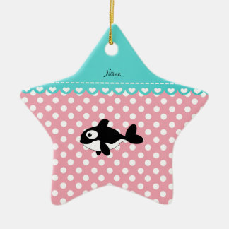 Personalized name whale pink white polka dots christmas tree ornament