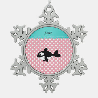 Personalized name whale pink white polka dots ornaments