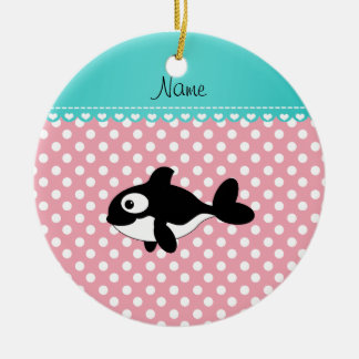 Personalized name whale pink white polka dots ornament