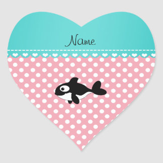 Personalized name whale pink white polka dots stickers