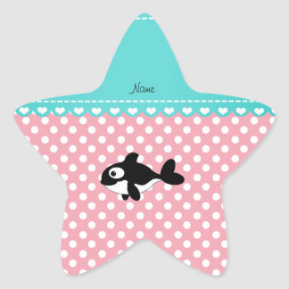 Personalized name whale pink white polka dots star stickers