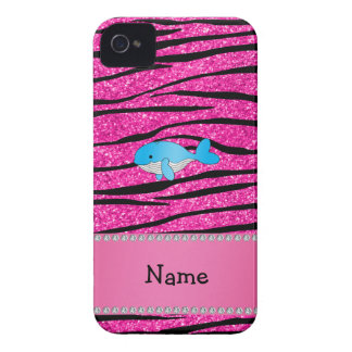 Personalized name whale pink zebra stripes Case-Mate iPhone 4 cases