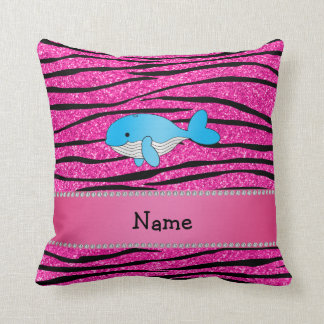 Personalized name whale pink zebra stripes pillows