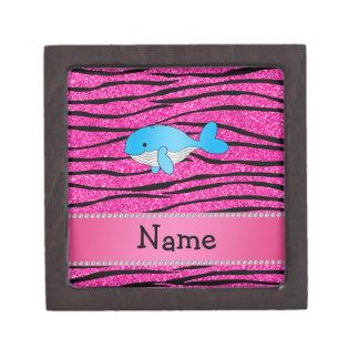 Personalized name whale pink zebra stripes premium gift boxes