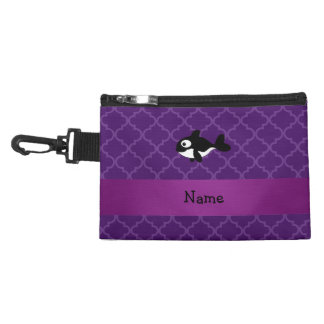 Personalized name whale purple moroccan accessories bags