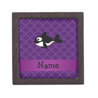 Personalized name whale purple moroccan premium jewelry box