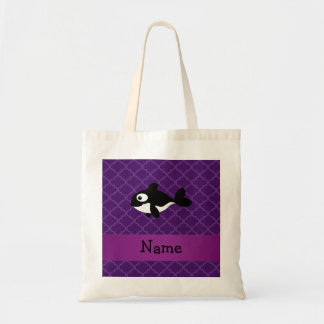 Personalized name whale purple moroccan tote bag