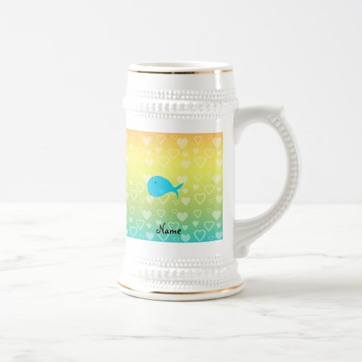 Personalized name whale rainbow hearts 18 oz beer stein