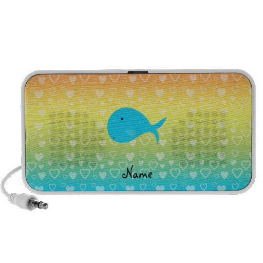 Personalized name whale rainbow hearts iPhone speaker