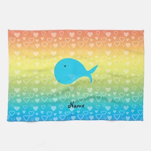 Personalized name whale rainbow hearts towels