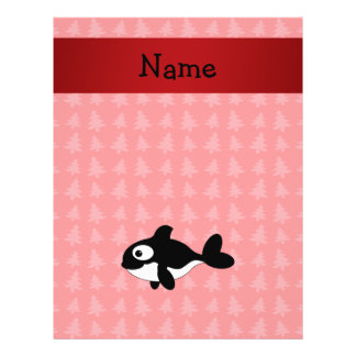 Personalized name whale red christmas trees full color flyer