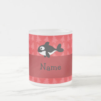 Personalized name whale red christmas trees frosted glass coffee mug