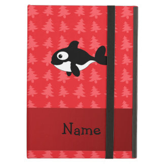 Personalized name whale red christmas trees iPad case