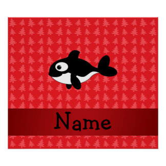 Personalized name whale red christmas trees print