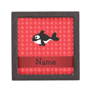 Personalized name whale red christmas trees premium jewelry boxes