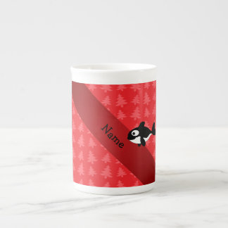 Personalized name whale red christmas trees porcelain mugs
