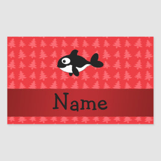 Personalized name whale red christmas trees sticker