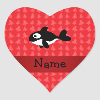 Personalized name whale red christmas trees heart sticker