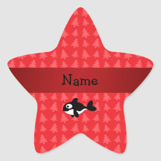 Personalized name whale red christmas trees stickers