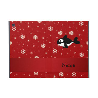 Personalized name whale red snowflakes cases for iPad mini