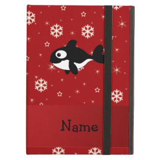 Personalized name whale red snowflakes iPad case