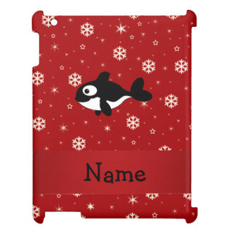 Personalized name whale red snowflakes iPad cover