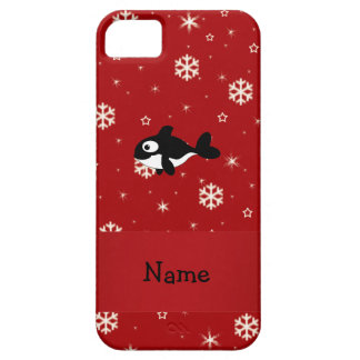 Personalized name whale red snowflakes iPhone 5 covers