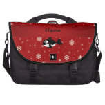 Personalized name whale red snowflakes computer bag