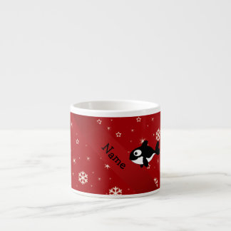 Personalized name whale red snowflakes espresso cups