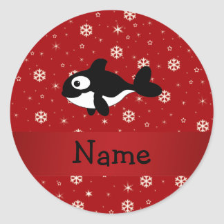 Personalized name whale red snowflakes round stickers
