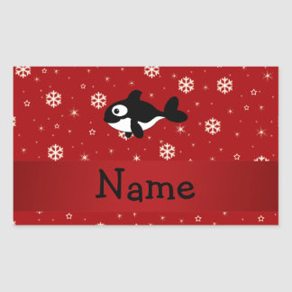 Personalized name whale red snowflakes rectangle stickers