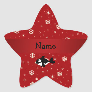 Personalized name whale red snowflakes star sticker