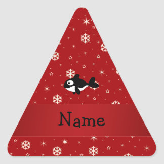 Personalized name whale red snowflakes sticker