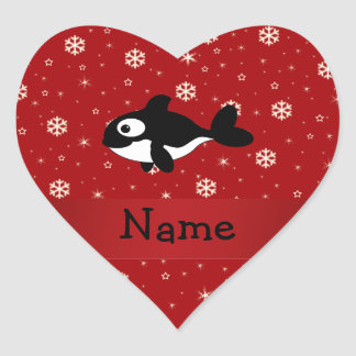 Personalized name whale red snowflakes heart sticker