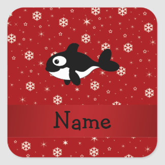 Personalized name whale red snowflakes square stickers
