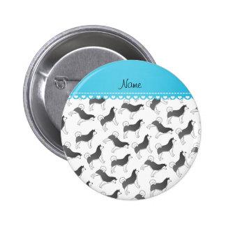Personalized name white alaskan malamute dogs 2 inch round button